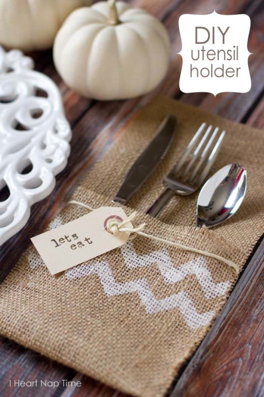 DIY burlap craft {utensil holders}