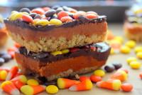 Chocolate Peanut Butter Candy Corn Crispy Bars