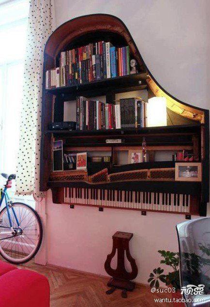 pianos are converted into a bookcase