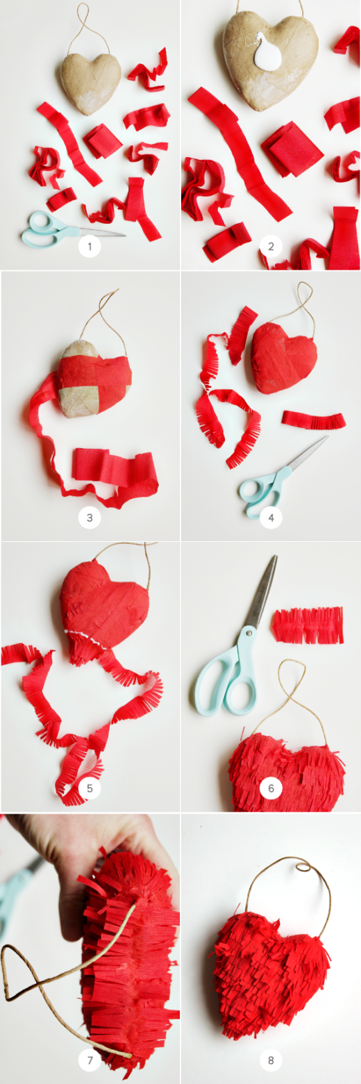 DIY Fringe 3-D Heart. Easy to make by simply covering paper mache hearts.