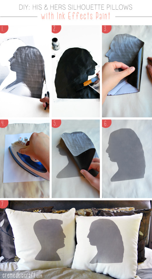 DIY: His & Hers Sillhouette Pillows with Fabric Transfer Paint