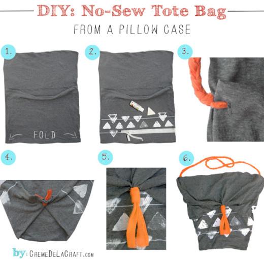 DIY: No-Sew Tote Bag From A Pillowcase