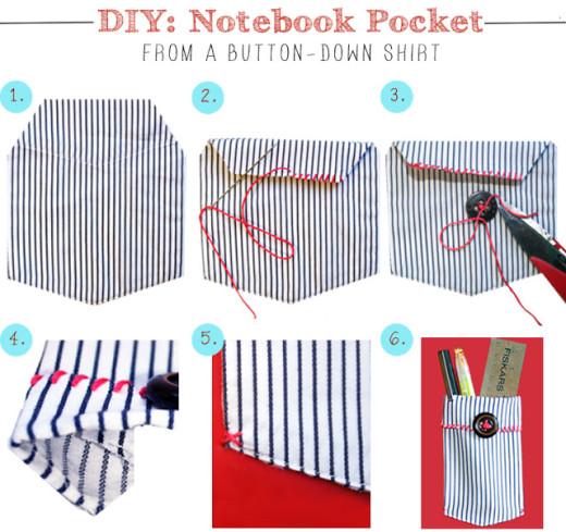DIY: Notebook Pocket From A Shirt