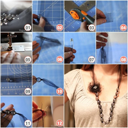 How to Make beads or pearl Necklace with Flowers step by step DIY tutorial instructions | How To Instructions