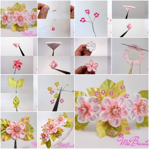 How to Make Golden Sakura Ribbon Flowers step by step DIY tutorial instructions | How To Instructions