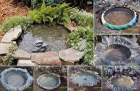 How to use used car tires to make garden landscaping water fountain step by step DIY tutorial instructions