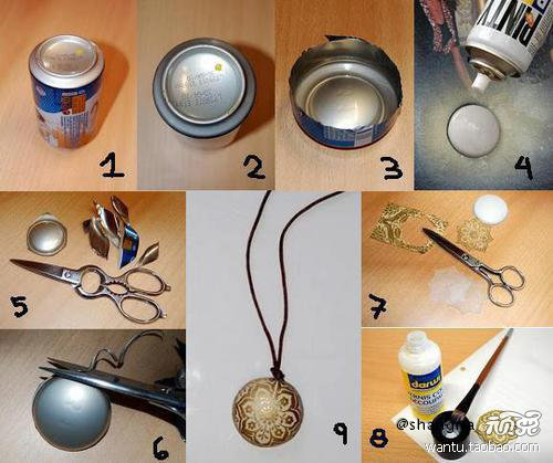 The cans transformed into retro necklace, required items: cans, glue, rope, patterned paper.