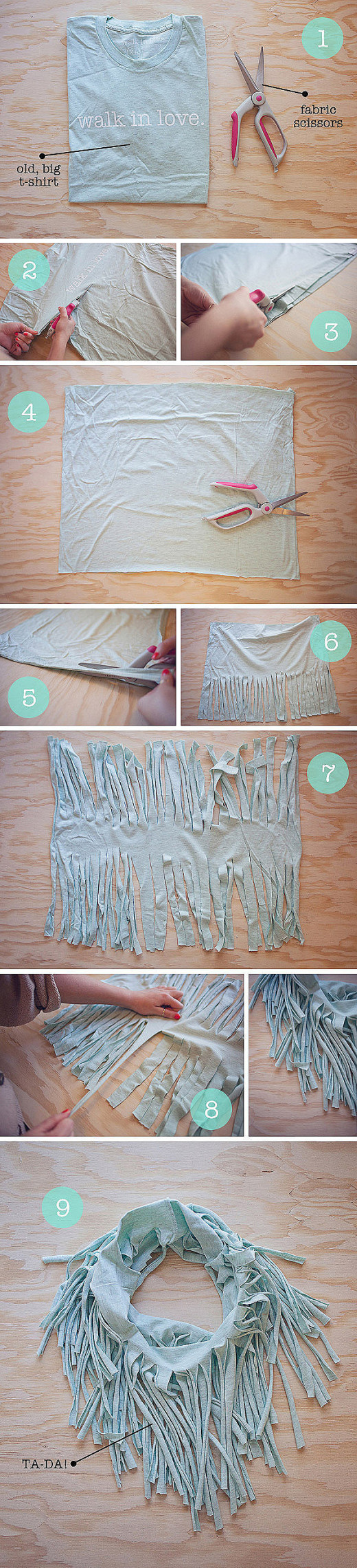 DIY Reuse of old T-Shirt = Scarf