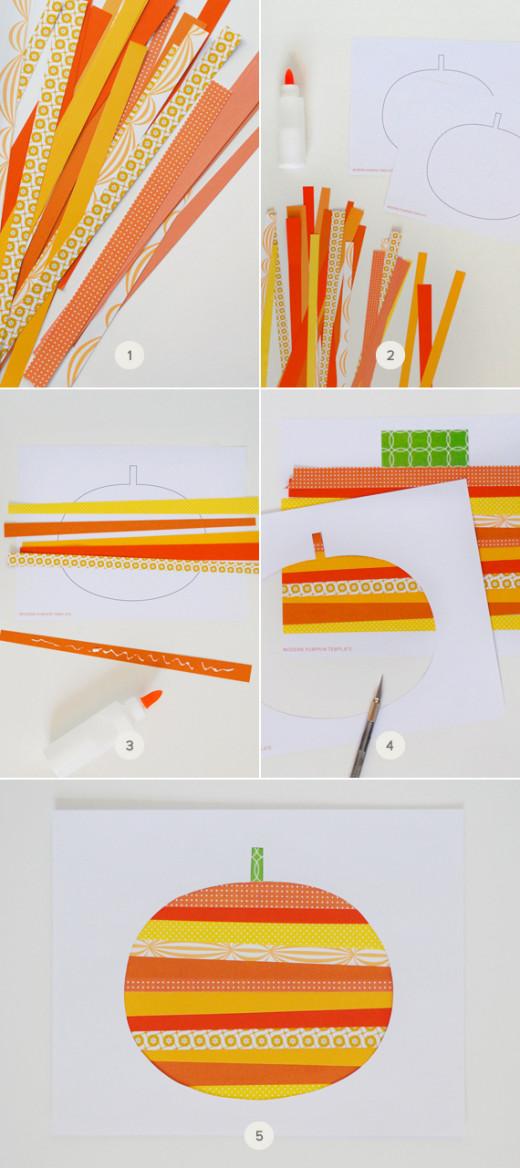 Paper Strip Pumpkin Art  – super fun for Kids