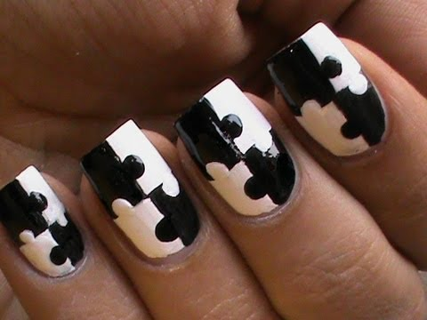 ▶ Puzzle Nails Art Designs – Matte Nail Polish Designs Black And White Short / Long nails How To Do – YouTube