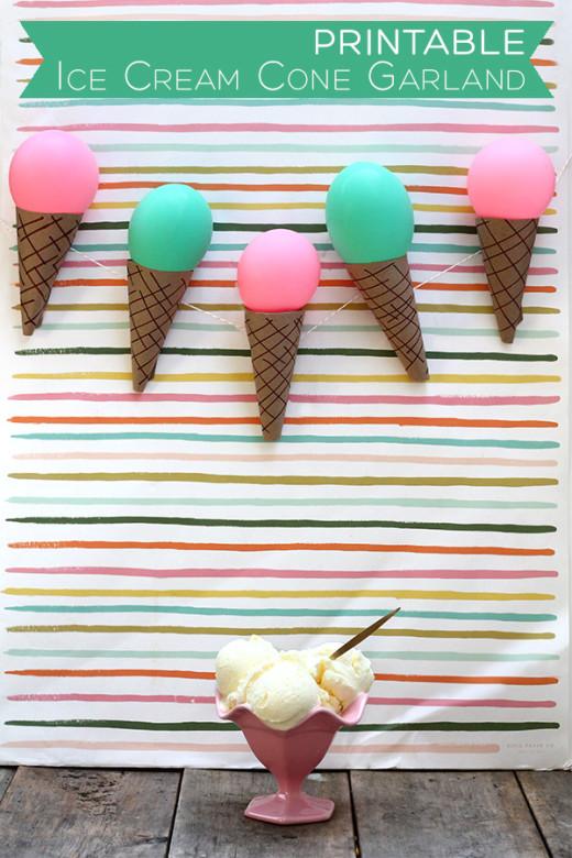 DIY Printable Ice Cream Cone Garland