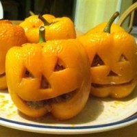 Stuffed Jack-O-Lantern Bell Peppers Recipe – perfect for Halloween