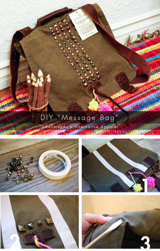 swellmayde: DIY | Alternative Apparel Message Bag (Studs & Pom Poms)