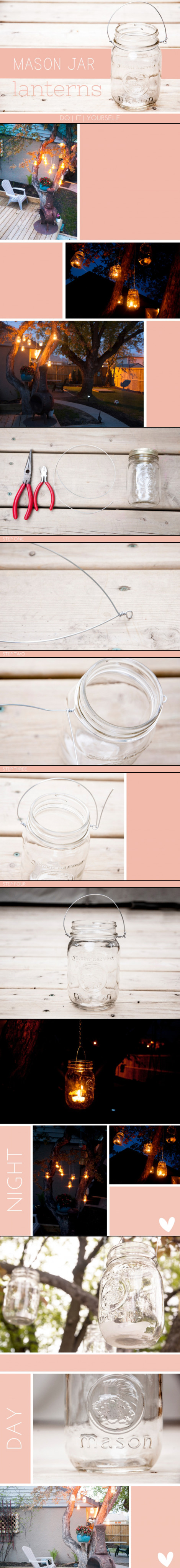 Clever and easy DIY Mason Jar Hanging Lanterns – Founded at Petite Raisin