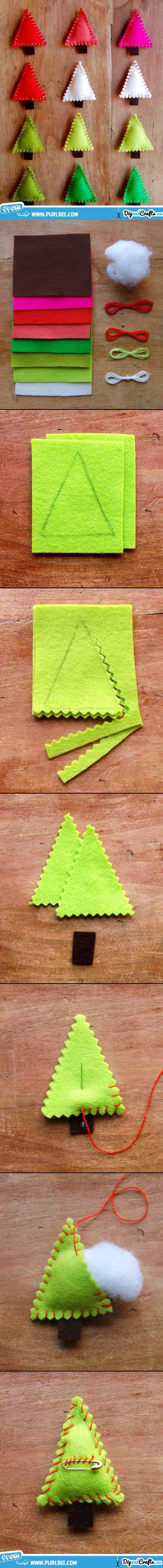 Felt Christmas Tree Pins | DIY