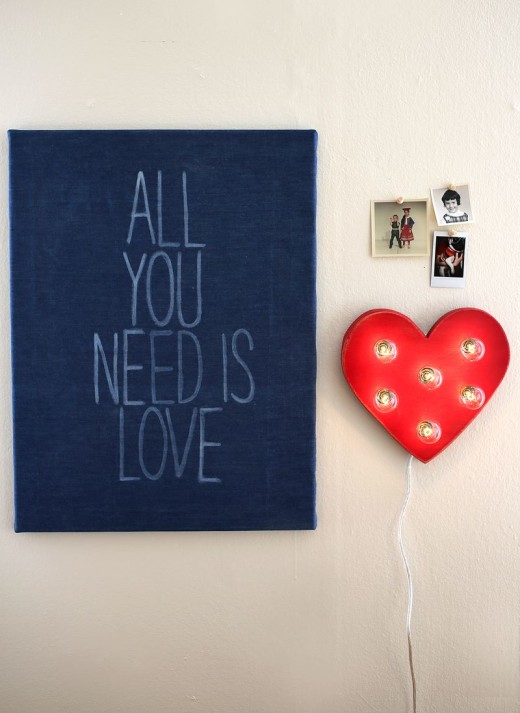 All You Need Is Love – DIY denim canvas art.