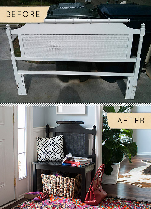 Before & After: A Headboard Is Given A New Life…As A Bench! | Design*Sponge
