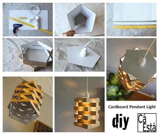 DIY Cardboard Pendant Lighting