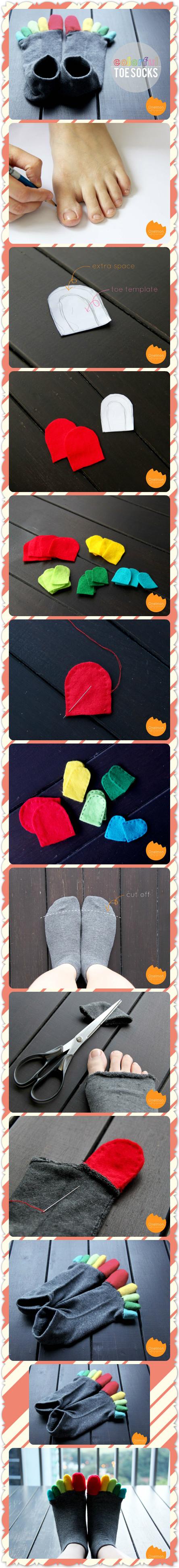 DIY Colorful Toe Socks