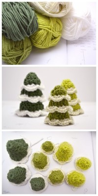 DIY crocheted christmas trees