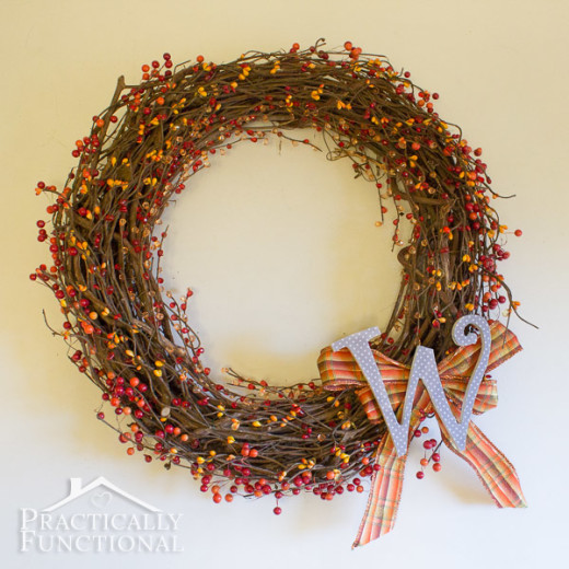 DIY Fall Monogram Wreath | Practically Functional