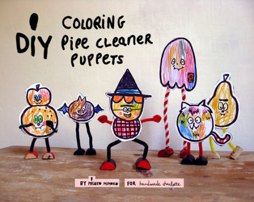 DIY Halloween Pipe Cleaner Puppets