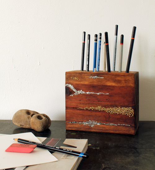 DIY: Embellished Wood Pencil Block