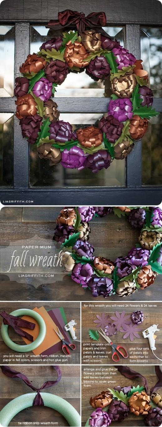 Paper Mum Fall Wreath