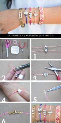 DIY RHINESTONE CORD BRACELET