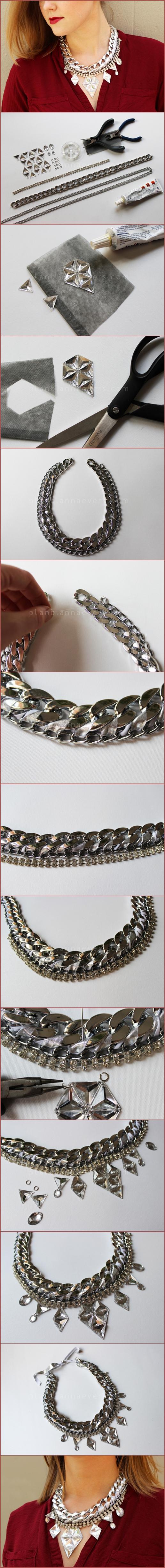 DIY Silver maxi necklace