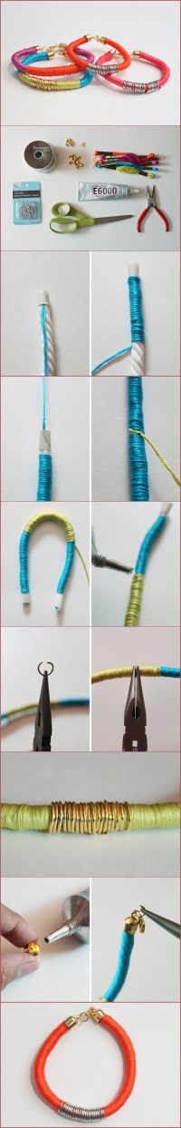 DIY Thread Wrapped Bracelets