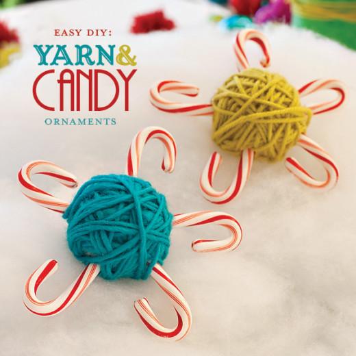 DIY: Yarn & Candy Cane Ornaments