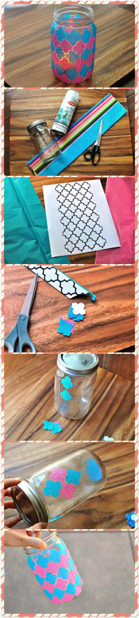 Faux Stain Glass DIY Mason Jar Luminary