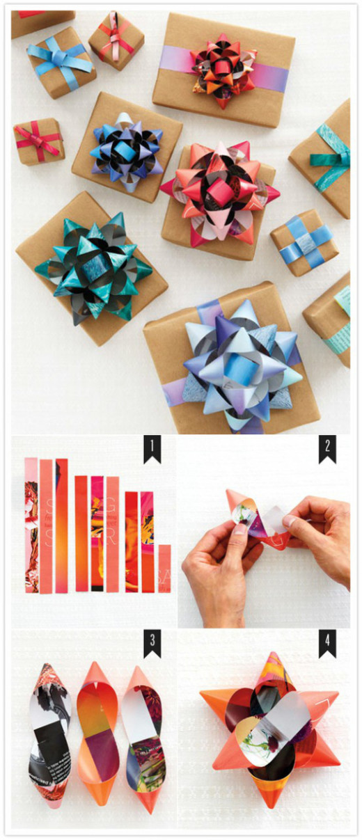 GIFT WRAPPING BOW from old magazine covers | DIY
