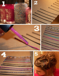 Colored hair clips DIY