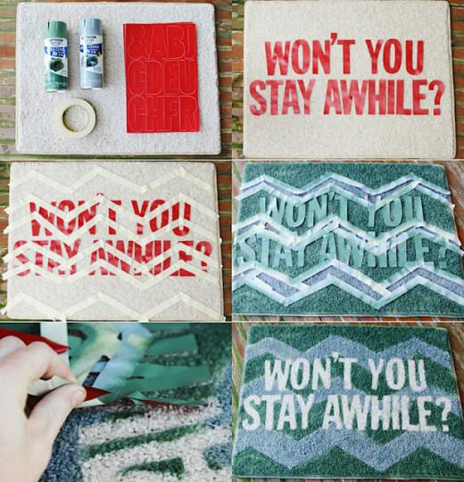 DIY Door mat – Won't You Stay Awhile?