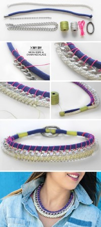 Neon Rope & Chain Necklace