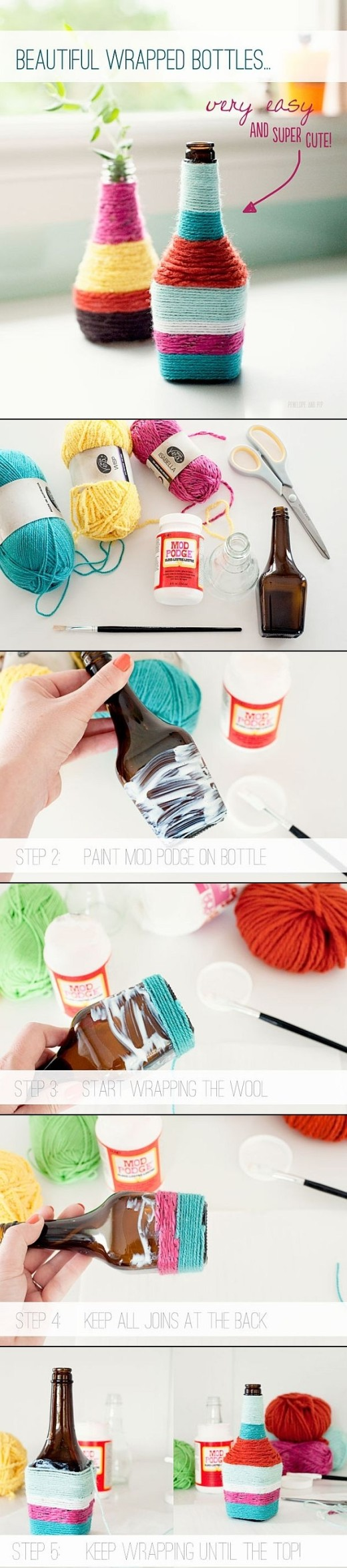 Yarn Wrapped Bottles | DIY