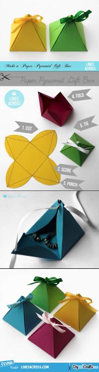 Paper Pyramid Gift Boxes   DIY