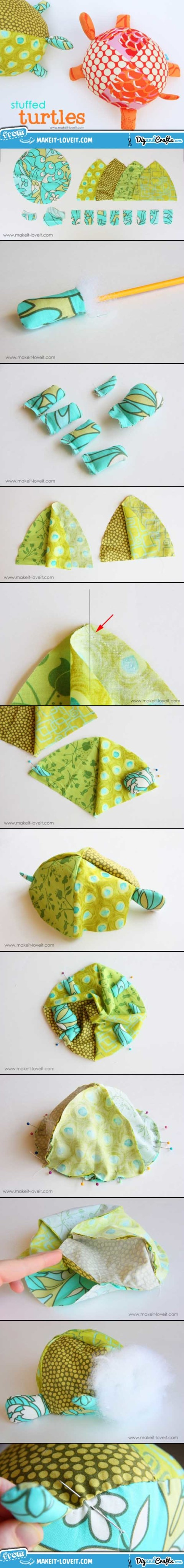 Stuffed Fabric Turtles (with pattern pieces) | DIY