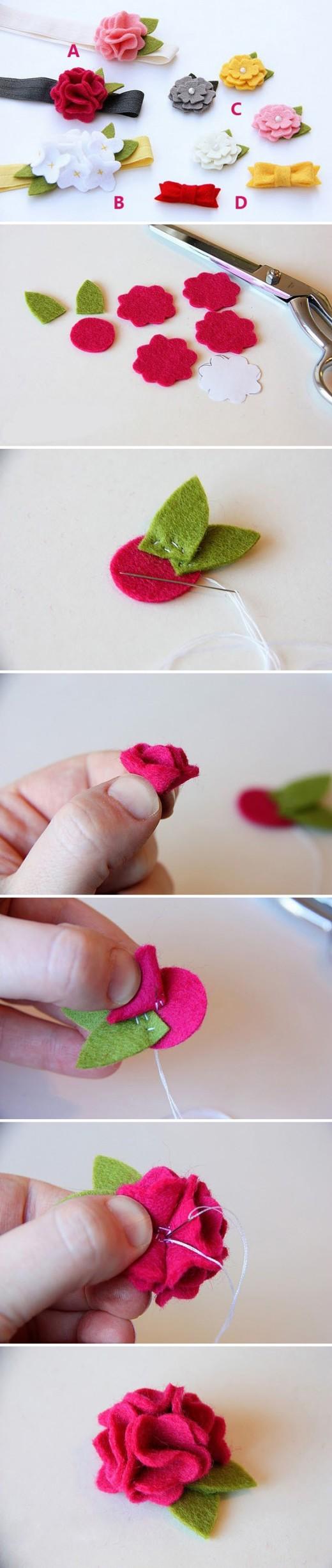 DIY felt flowers – Hair accessories