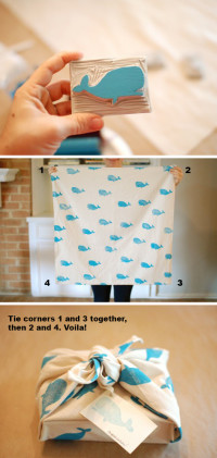 Hand printed fabric gift wrap tutorial