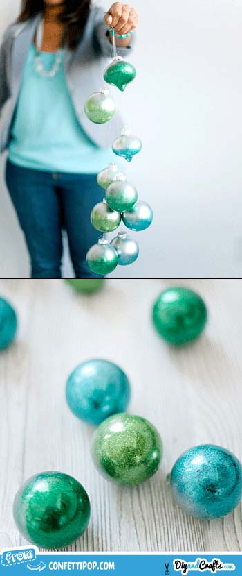 Metallic Ombré Glitter Ornaments | DIY