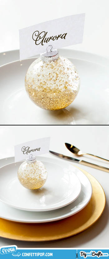 Confetti Snow Globe Place Card Holder | DIY