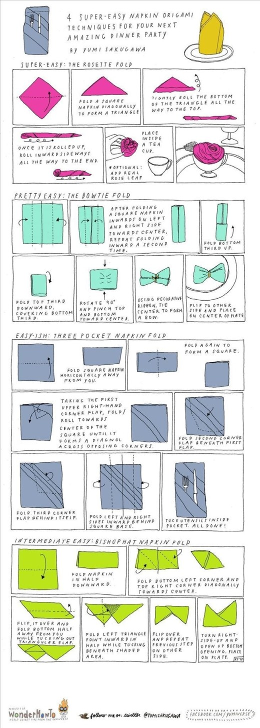 4 Super Easy Napkin-Folding Techniques | The Secret Yumiverse