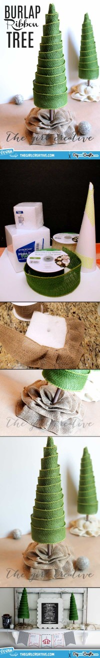 DIY Burlap Ribbon Trees