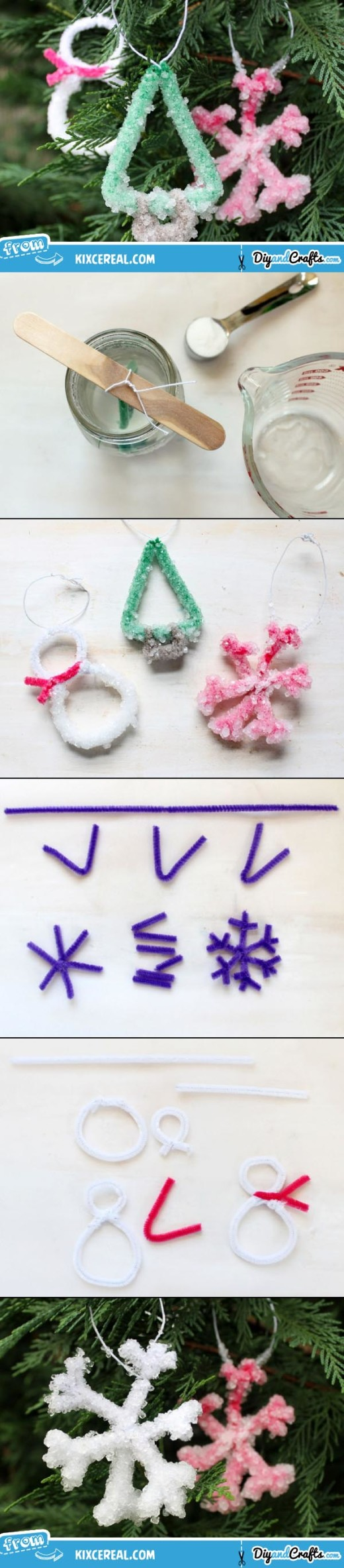 Crystal-Coated Pipe Cleaner Ornaments | DIY
