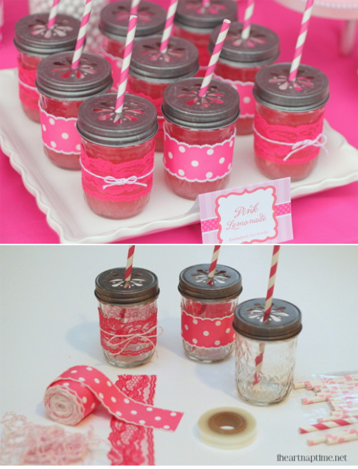 Ribbon and Lace Mason Jar Cups