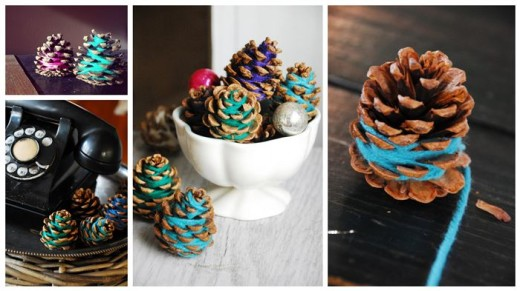 Colorful Yarn Pine Cones