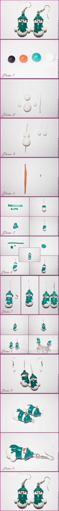 DIY Clay Snowman Earrings | DIY